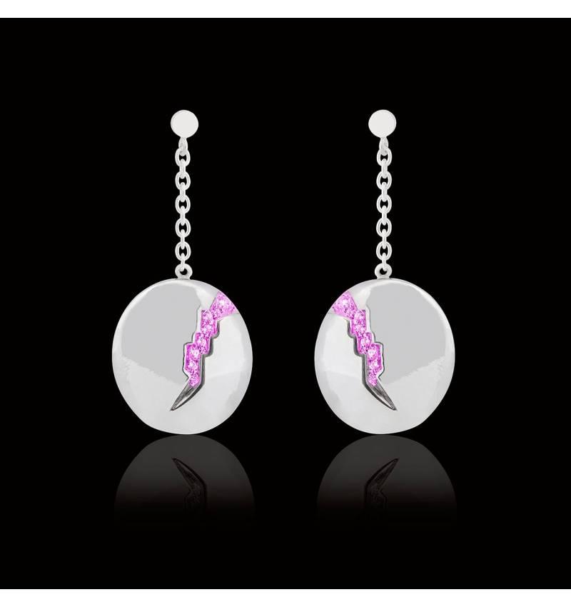 Boucles d'oreilles pavage en saphir rose or blanc 18 K (9,7g) Quake