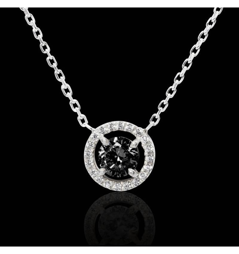 Pendentif diamant noir rond Soleil