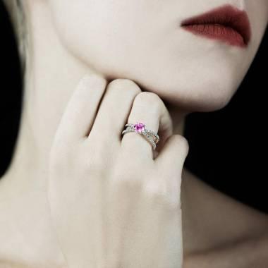 Bague saphir rose Amandine