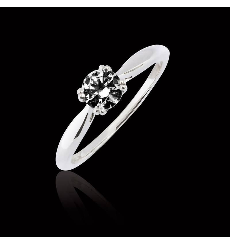 Bague de fiançailles diamant noir or blanc Laureen Solo
