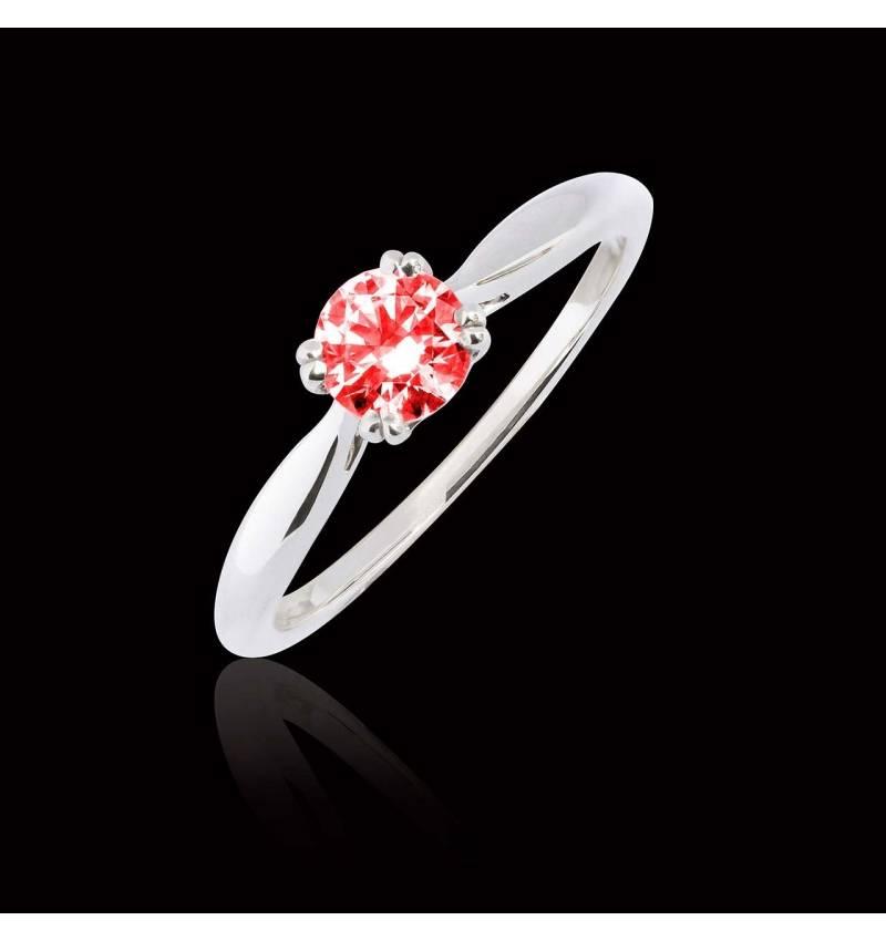 Bague de fiançailles rubis or blanc Laureen Solo
