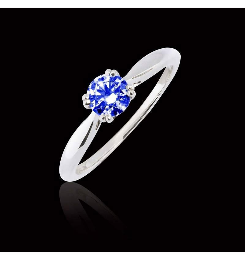 Bague de fiançailles saphir bleu or blanc Laureen Solo