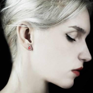 Boucles d'oreilles rubis poire Soleil