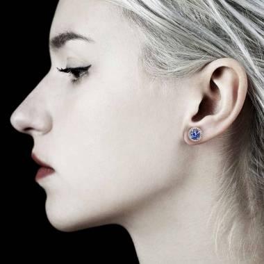 Boucles d'oreilles saphir bleu Soleil