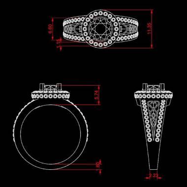 Bague de fiançailles émeraude pavage diamant or blanc Tsarine