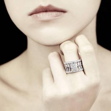 Bague de fiançailles diamant pavage diamant or blanc Flowers of Love