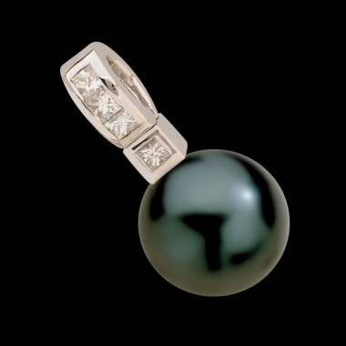 Pendentif perle noire Tahiti et diamant Princess Bora Bora