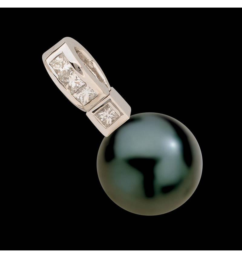 Pendentif perle noire Tahiti et diamant or blanc Princess Bora Bora