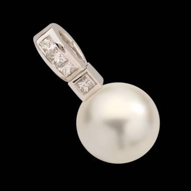 Pendentif perle blanche Tahiti et diamant 0,32 carat or blanc Princess Bora Bora