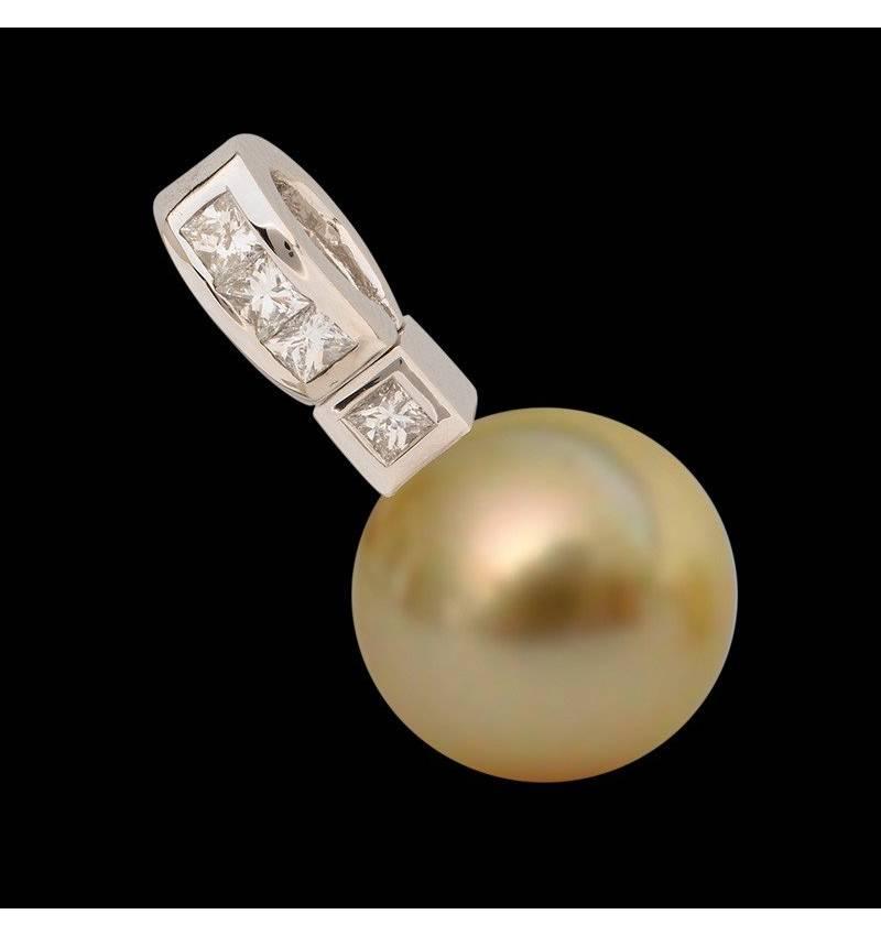 Pendentif perle gold Tahiti et diamant 0,32 carat en or blanc Princess Bora Bora