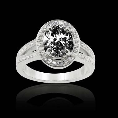 Bague de fiançailles diamant noir ovale Sarah