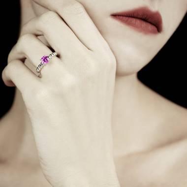 Bague saphir rose Perle