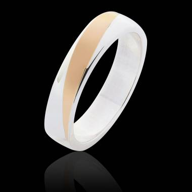 Alliance mariage homme or blanc bicolore Albert