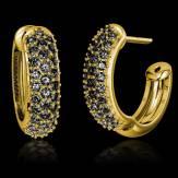 Boucles d'oreilles pavage diamant noir or jaune Mangrove