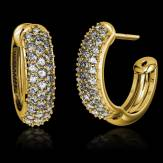 Boucles d'oreilles pavage diamant or jaune 18K (7,6g) Mangrove