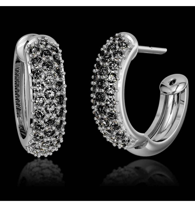 Boucles d'oreilles pavage diamant noir or blanc 18K (7,6g) Mangrove
