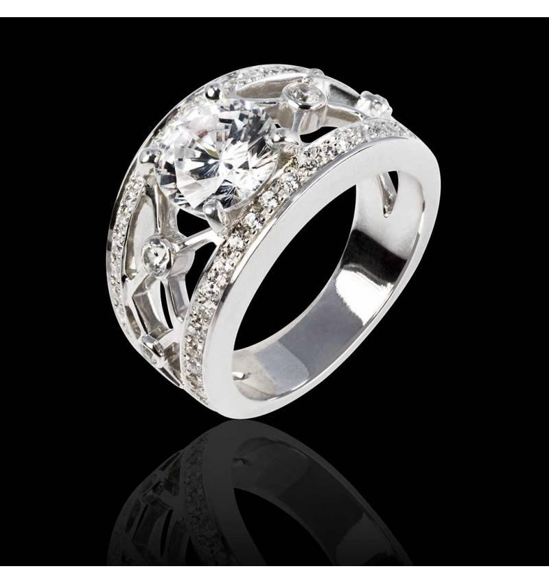 Bague de fiançailles diamant forme rond pavage diamant or blanc Régina Suprema