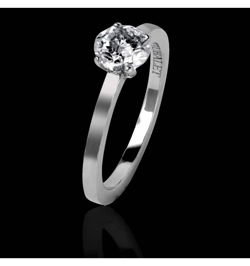 Bague de fiançailles diamant or blanc Judith Solo