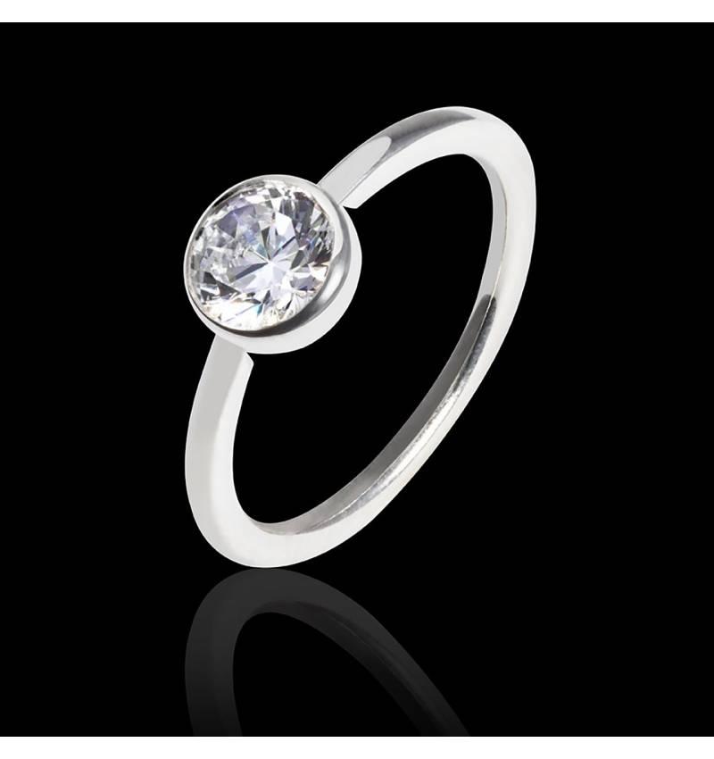 Bague de fiançailles diamant or blanc Cristina