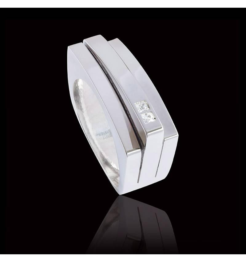 Bague Homme pavage diamant 0,5 carats or blanc Sensus