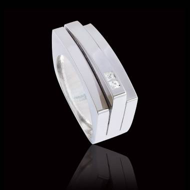 Bague Homme pavage diamant 0,7 carats or blanc Sensus