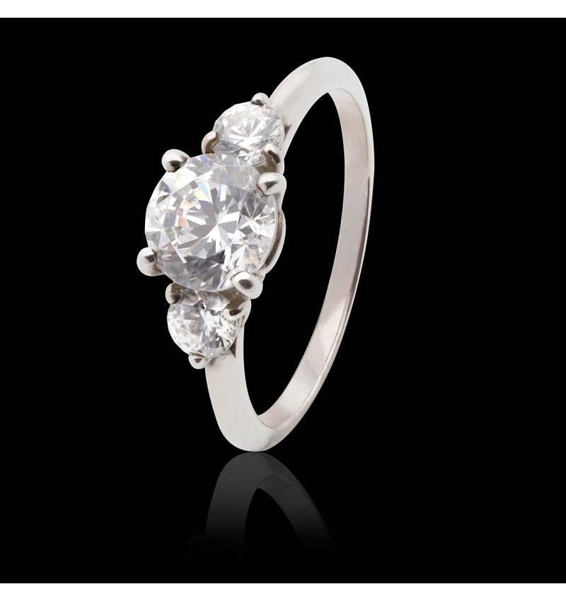 Bague de fiançailles diamant pavage diamant or blanc Nayla
