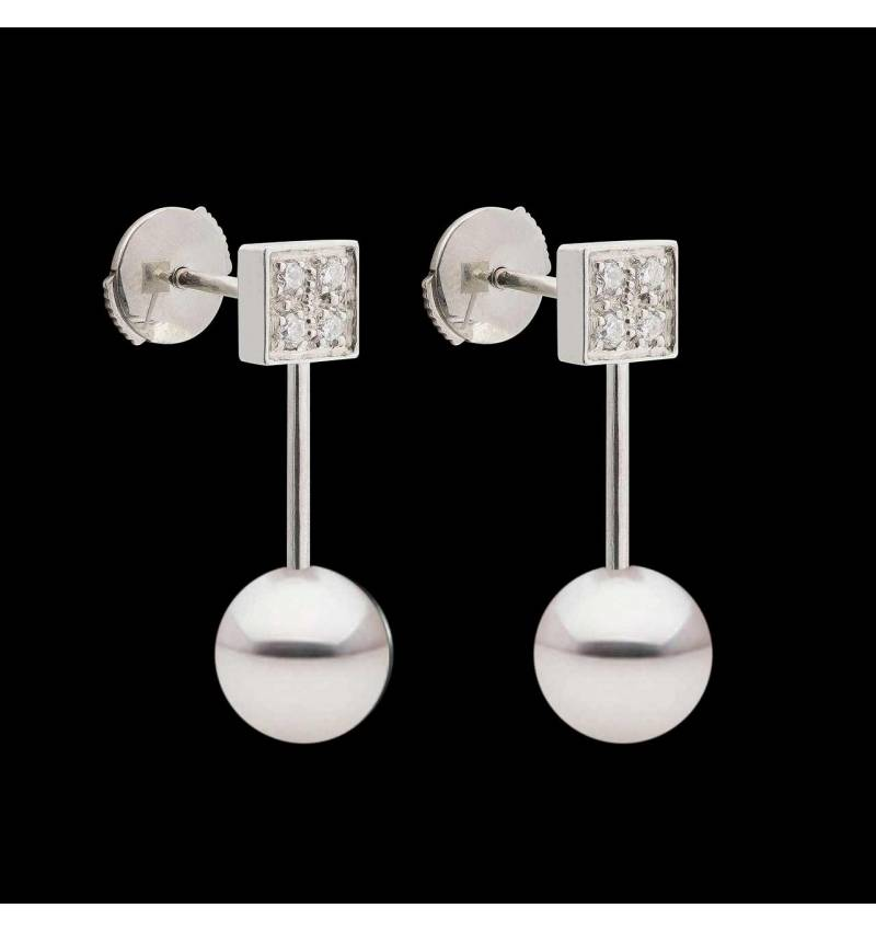 Boucles d'oreilles perle et diamant Archipel