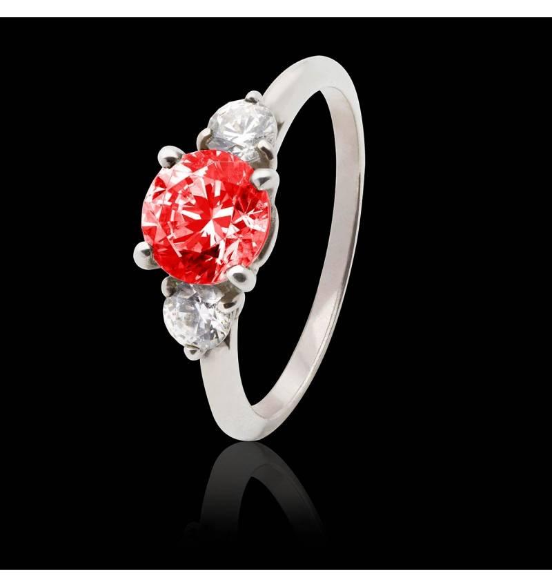 Bague de fiançailles rubis pavage diamant or blanc Nayla