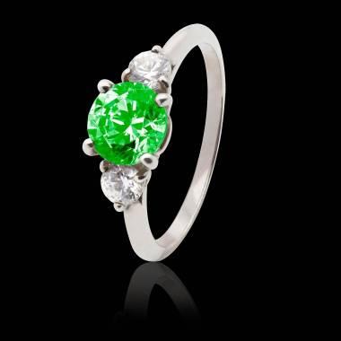 Bague de fiançailles émeraude pavage diamant or blanc Nayla