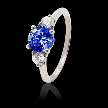 Bague de fiançailles saphir bleu pavage diamant or blanc Nayla