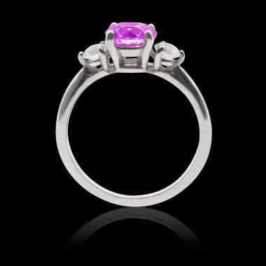 Bague de fiançailles saphir rose pavage diamant or blanc Nayla