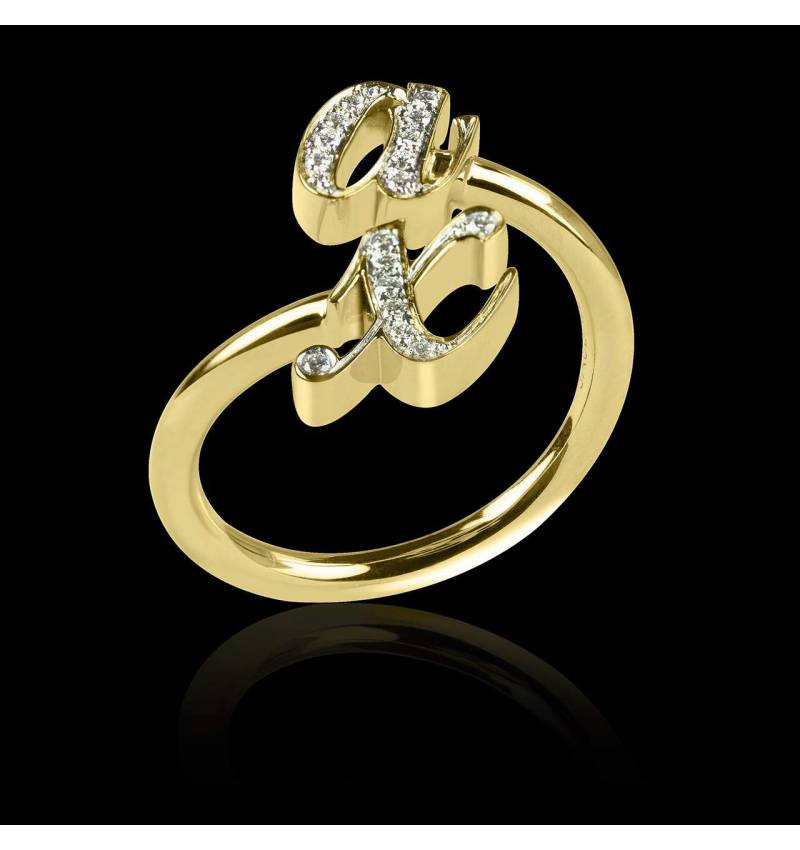 Alliance de mariage pavage diamant 0,6 carat or jaune You&Me