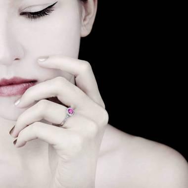 Bague de fiançailles Tourmaline rose Rekha