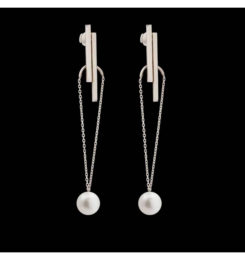 Boucles d'oreilles pendante Art déco perle blanche