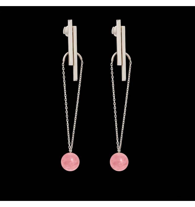 Boucles d'oreilles pendante Art déco perle rosée