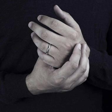 Alliance de mariage homme or blanc palladié 18K