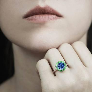 Bague de fiançailles saphir bleu Florentine
