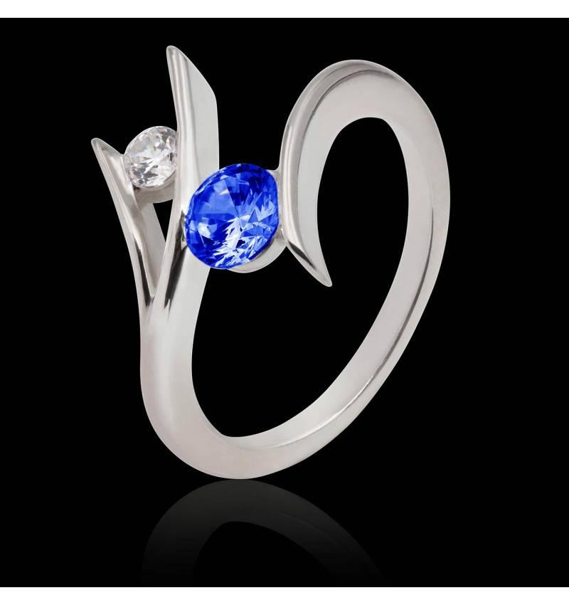 Bague de fiançailles saphir bleu Eva
