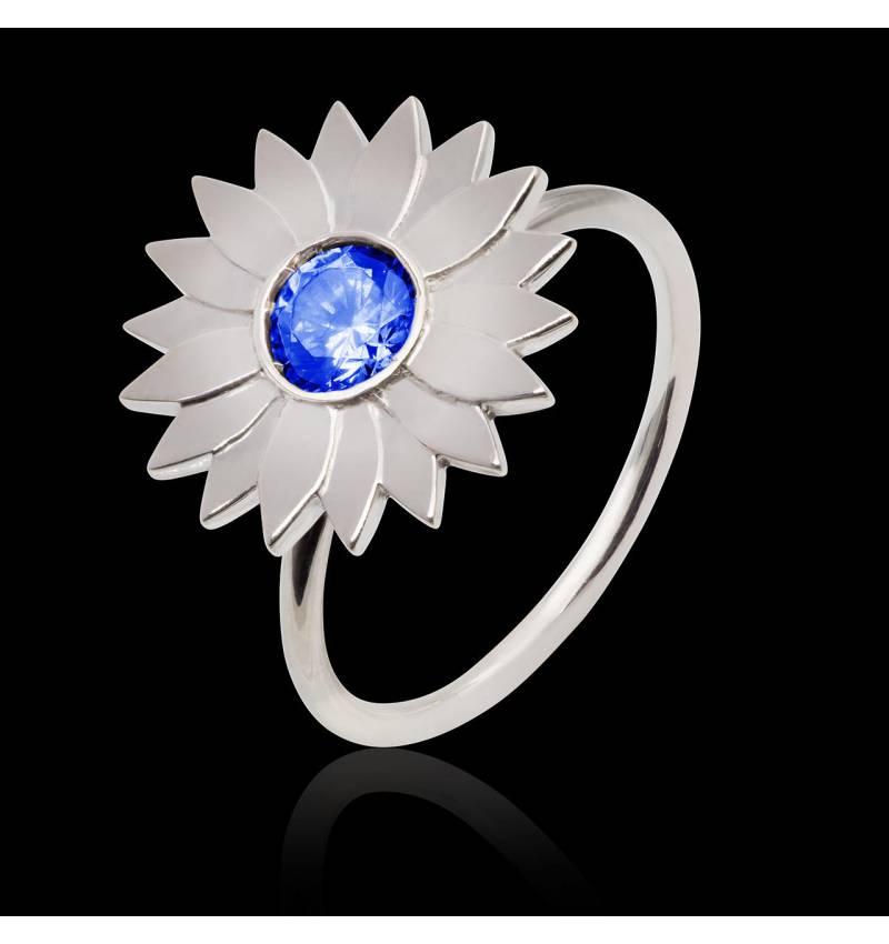 Bague de fiançailles saphir bleu Marguerite Solo