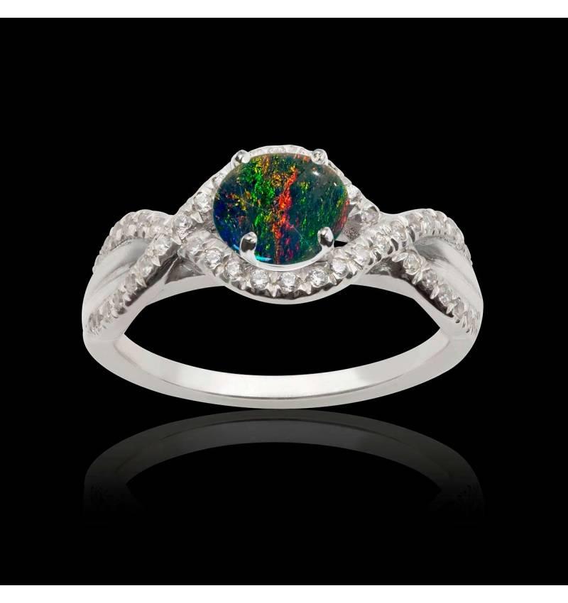 Bague opale noire Juliette