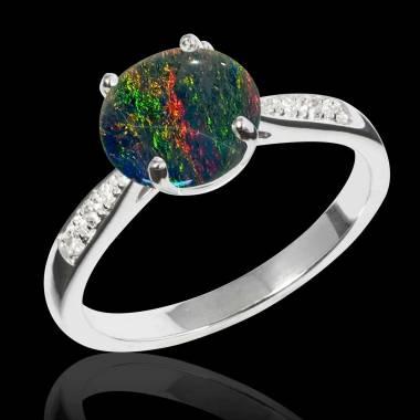 Bague opale noire Angela