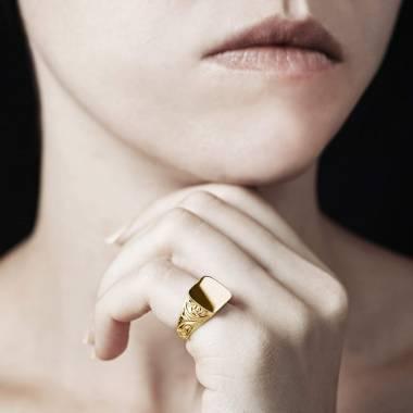 Chevalière femme or jaune Poséidon