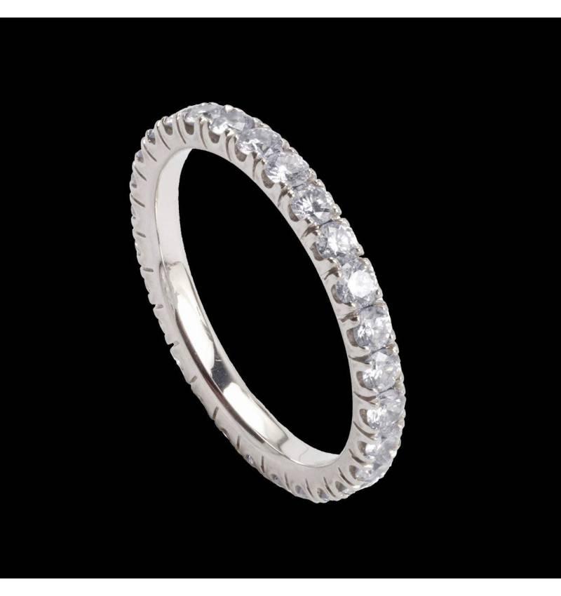 Alliance pavage diamant or blanc Eve