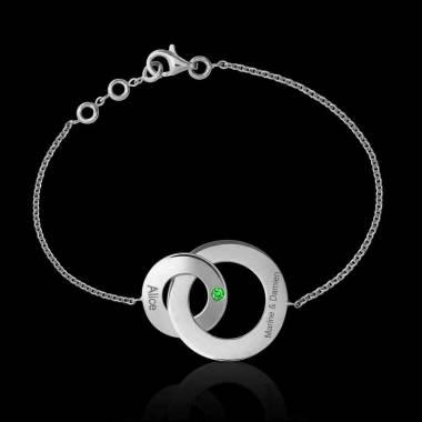 Bracelet émeraude Double Anneau
