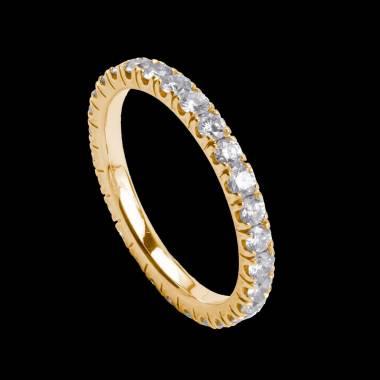 Alliance pavage diamant or jaune Eve
