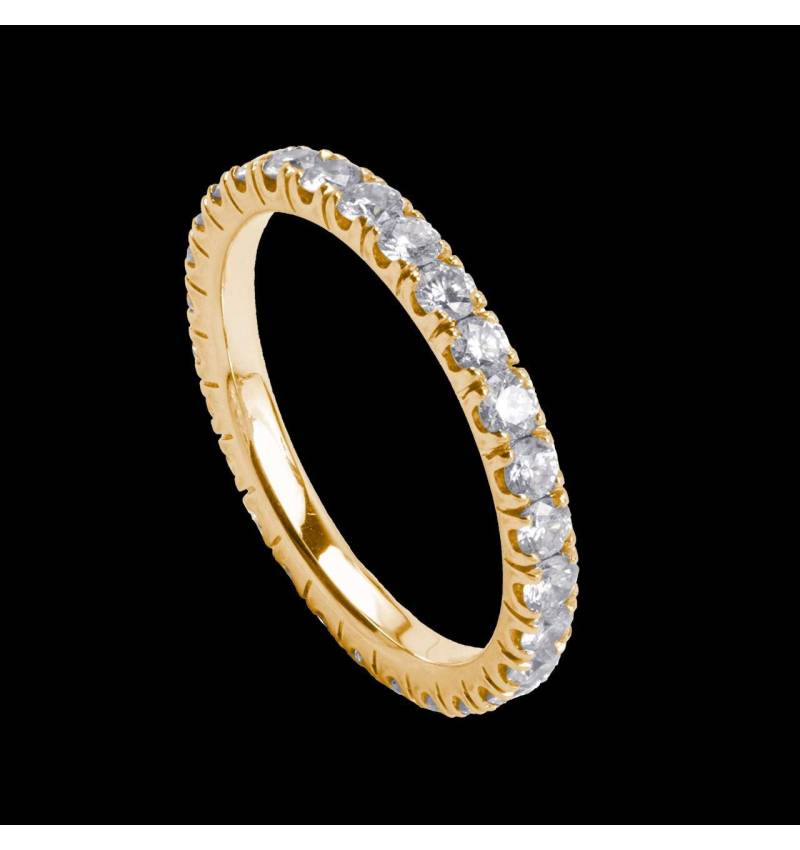 Alliance de mariage pavage diamant 0,6 carat or jaune Eve