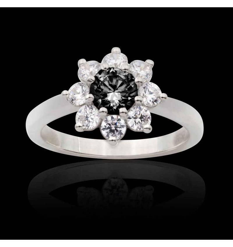 Bague fiançailles diamant noir Victoria