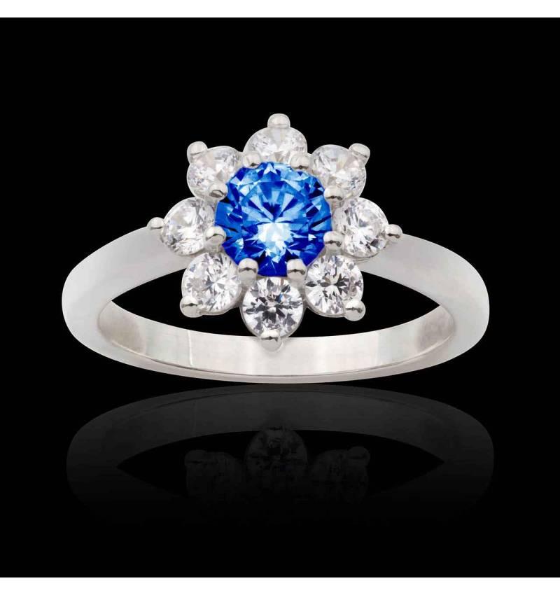 Bague fiançailles saphir bleu Victoria