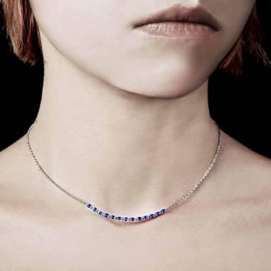 Collier saphir bleu Ligne