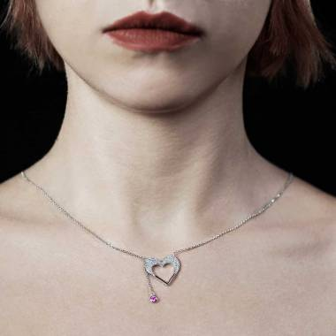Pendentif saphir rose Coeur d'Amour